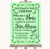 Green Cheese Board Song Customised Wedding Sign