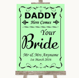 Green Daddy Here Comes Your Bride Customised Wedding Sign