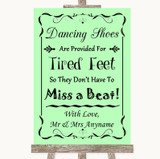 Green Dancing Shoes Flip-Flop Tired Feet Customised Wedding Sign