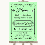 Green Don't Post Photos Online Social Media Customised Wedding Sign
