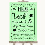 Green Fingerprint Tree Instructions Customised Wedding Sign