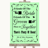 Green Friends Of The Bride Groom Seating Customised Wedding Sign