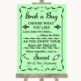 Green Grab A Bag Candy Buffet Cart Sweets Customised Wedding Sign