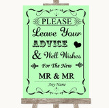 Green Guestbook Advice & Wishes Gay Customised Wedding Sign