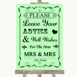Green Guestbook Advice & Wishes Lesbian Customised Wedding Sign