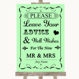Green Guestbook Advice & Wishes Mr & Mrs Customised Wedding Sign