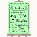 Green Hankies And Tissues Customised Wedding Sign
