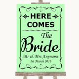 Green Here Comes Bride Aisle Sign Customised Wedding Sign
