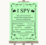 Green I Spy Disposable Camera Customised Wedding Sign