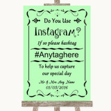 Green Instagram Photo Sharing Customised Wedding Sign