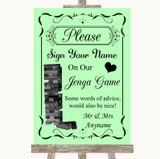 Green Jenga Guest Book Customised Wedding Sign