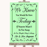 Green Loved Ones In Heaven Customised Wedding Sign