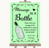 Green Message In A Bottle Customised Wedding Sign