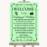 Green No Phone Camera Unplugged Customised Wedding Sign