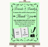 Green Photo Guestbook Friends & Family Customised Wedding Sign