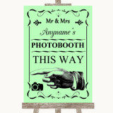 Green Photobooth This Way Left Customised Wedding Sign