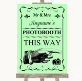 Green Photobooth This Way Right Customised Wedding Sign
