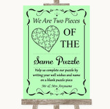 Green Puzzle Piece Guest Book Customised Wedding Sign