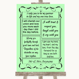 Green Romantic Vows Customised Wedding Sign