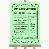 Green Rules Of The Dancefloor Customised Wedding Sign