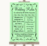 Green Rules Of The Wedding Customised Wedding Sign
