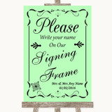Green Signing Frame Guestbook Customised Wedding Sign
