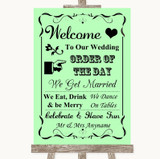 Green Welcome Order Of The Day Customised Wedding Sign
