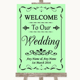 Green Welcome To Our Wedding Customised Wedding Sign