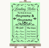 Green Who's Who Leading Roles Customised Wedding Sign