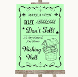 Green Wishing Well Message Customised Wedding Sign