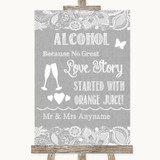 Grey Burlap & Lace Alcohol Bar Love Story Customised Wedding Sign