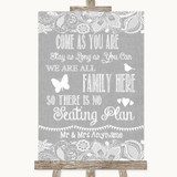 Grey Burlap & Lace All Family No Seating Plan Customised Wedding Sign