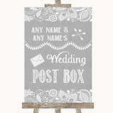 Grey Burlap & Lace Card Post Box Customised Wedding Sign