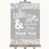Grey Burlap & Lace Cards & Gifts Table Customised Wedding Sign