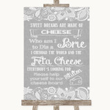 Grey Burlap & Lace Cheese Board Song Customised Wedding Sign