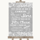 Grey Burlap & Lace Cheesecake Cheese Song Customised Wedding Sign