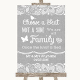 Grey Burlap & Lace Choose A Seat We Are All Family Customised Wedding Sign