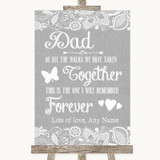 Grey Burlap & Lace Dad Walk Down The Aisle Customised Wedding Sign