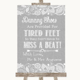 Grey Burlap & Lace Dancing Shoes Flip-Flop Tired Feet Customised Wedding Sign