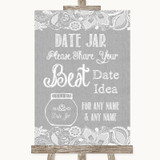 Grey Burlap & Lace Date Jar Guestbook Customised Wedding Sign
