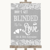 Grey Burlap & Lace Don't Be Blinded Sunglasses Customised Wedding Sign