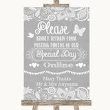 Grey Burlap & Lace Don't Post Photos Online Social Media Wedding Sign