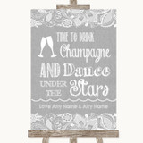 Grey Burlap & Lace Drink Champagne Dance Stars Customised Wedding Sign