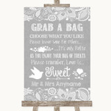 Grey Burlap & Lace Grab A Bag Candy Buffet Cart Sweets Customised Wedding Sign