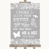 Grey Burlap & Lace Guestbook Advice & Wishes Mr & Mrs Customised Wedding Sign