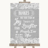 Grey Burlap & Lace Hankies And Tissues Customised Wedding Sign