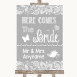 Grey Burlap & Lace Here Comes Bride Aisle Sign Customised Wedding Sign