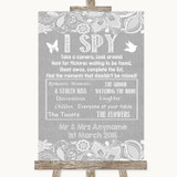 Grey Burlap & Lace I Spy Disposable Camera Customised Wedding Sign