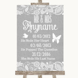 Grey Burlap & Lace Important Special Dates Customised Wedding Sign