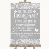 Grey Burlap & Lace Instagram Photo Sharing Customised Wedding Sign